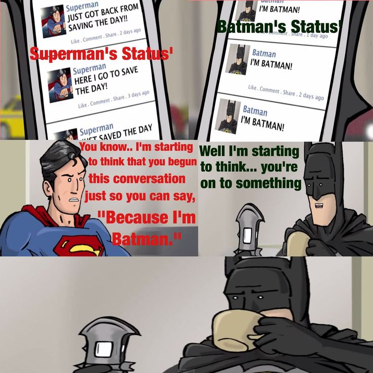 "Image from my book ""Because I'm BATMAN"" Chats - feat. Superman - Definition of Awesome on Wattpad using images from a HISHE clip"