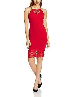 8, Red, Quiz Women's Crepe Lace Bodycon Dress NEW