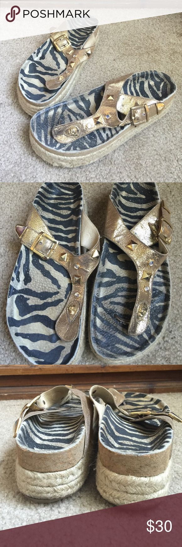 Rapsodia gold espadrilles Used condition. Gold with zebra print inside the sole. Gold embellishment. About 2' platform. Rapsodia Shoes Espadrilles