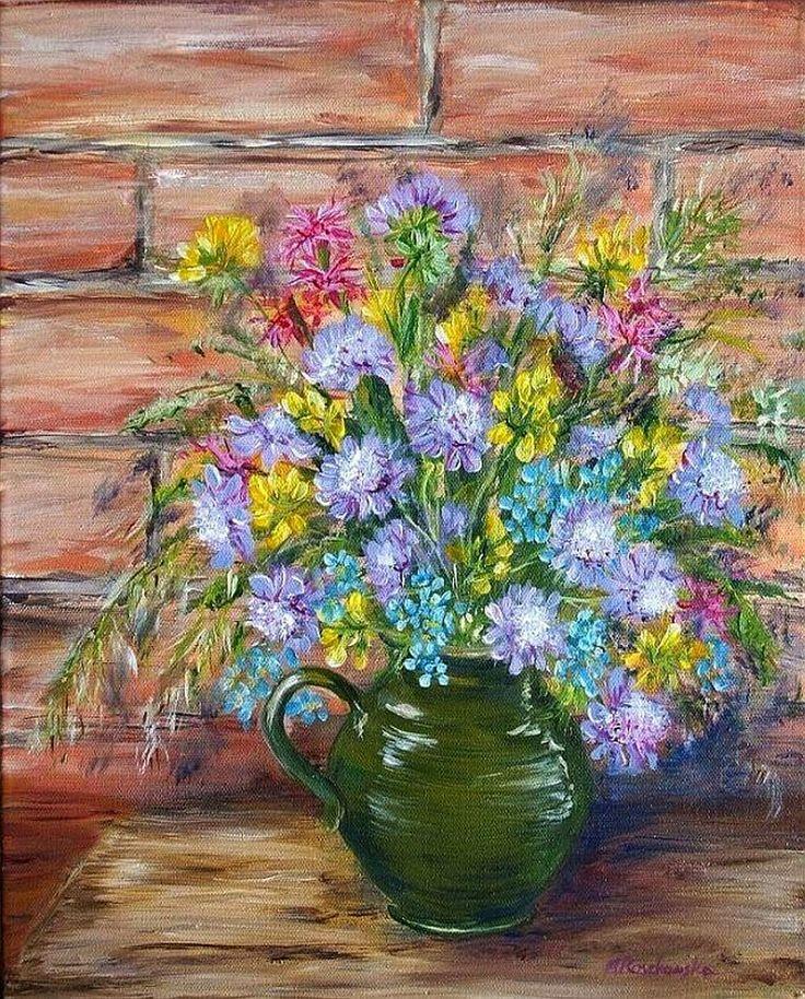 Polne kwiaty w dzbanie - Maria Roszkowska - obraz olejny