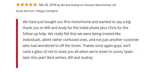 Customer review 20th Feb 2018 - the Viscount team wish Bill and Audrey many happy #motorhome adventures. #happycampers #Spain #RoadTrips #Explore #Europe