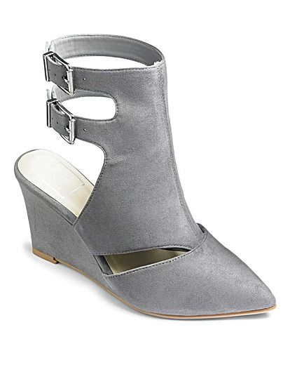 Sole Diva Buckle Wedge Shoes Extra Wide EEE Fit