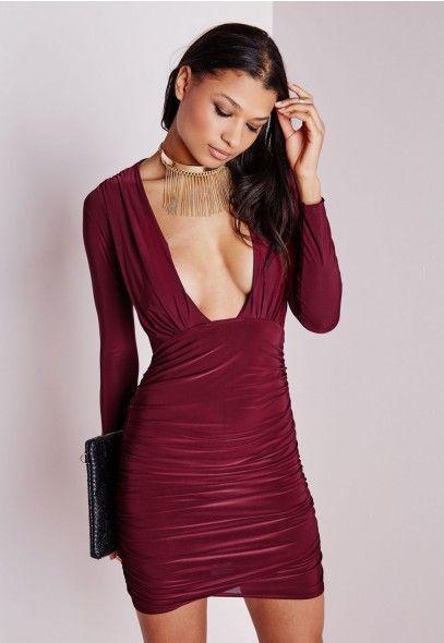 Slinky Plunge Bodycon Dress Burgundy - Dresses - Bodycon Dresses - Missguided
