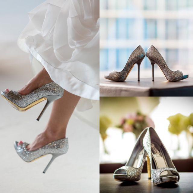 Silver Glitter Miu Miu Heels Peep Toe Wedding Bride