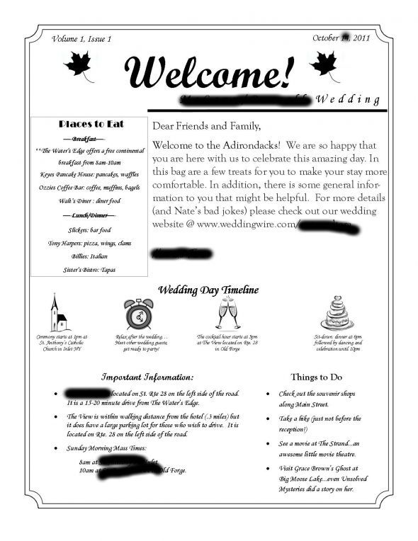 Newsletter for out of town guests Found on Weddingbee.com Share your inspiration today!