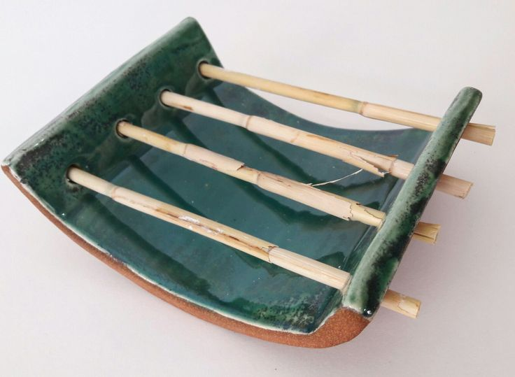 ceramic, bambu soapdish