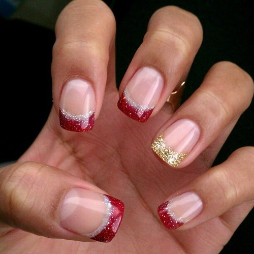 Love the red glitter french for Christmas!