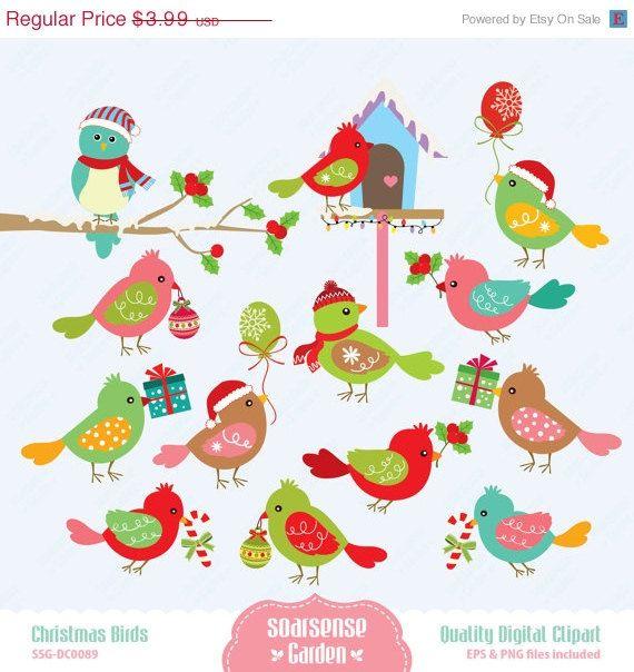Christmas Birds Digital Clipart