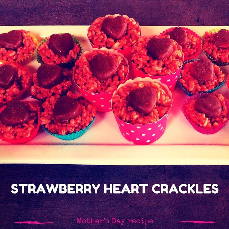 Mother's Day Strawberry Heart Crackles recipe Strawberry