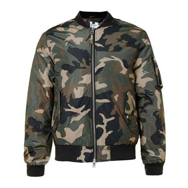 Green Camo MA1 Bomber Jacket ($90) ❤ liked on Polyvore featuring outerwear, jackets, camouflage jacket, flight jacket, bomber jacket, bomber style jacket and blouson jacket