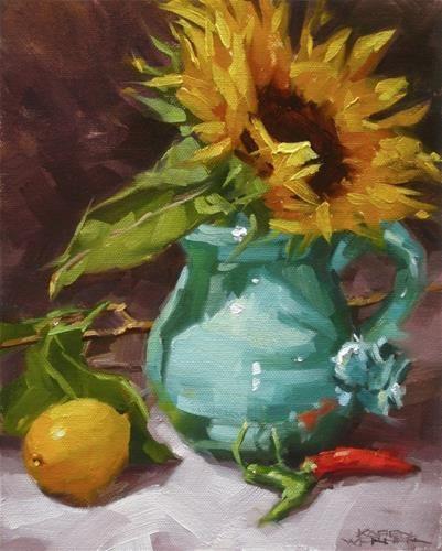 "Daily Paintworks - ""Sunflower In Turquoise""  © Karen Werner"