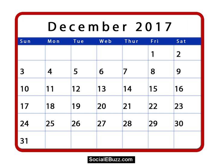 December 2017 Calendar with Holidays  http://socialebuzz.com/december-2017-calendar-printable-template/