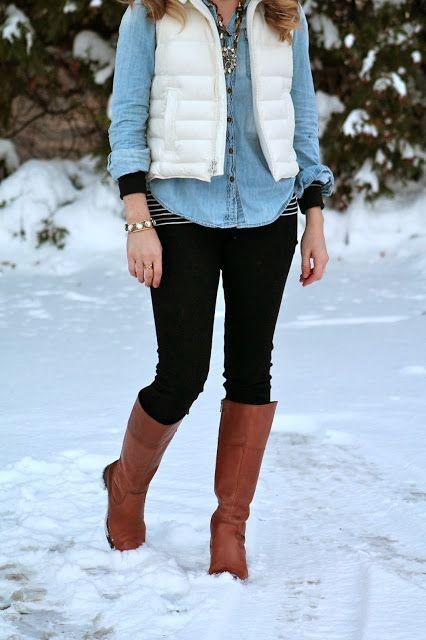 stripes, chambray, white puffer vest