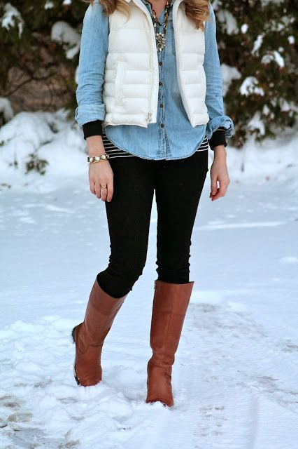 stripes, chambray, white puffer vest
