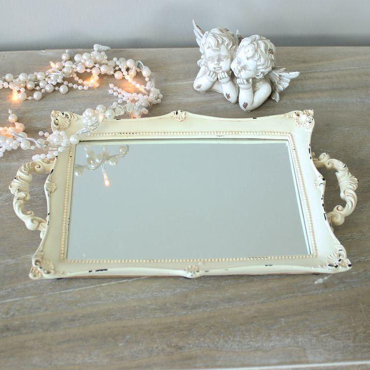 Vintage Cream Mirrored Boudoir Tray