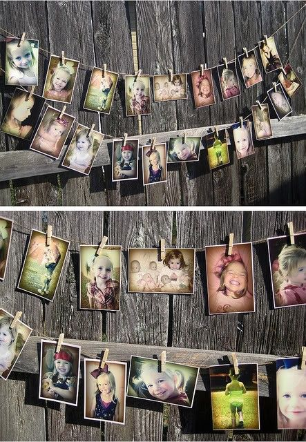 Clothesline pictures in all different sizes of the bride and groom