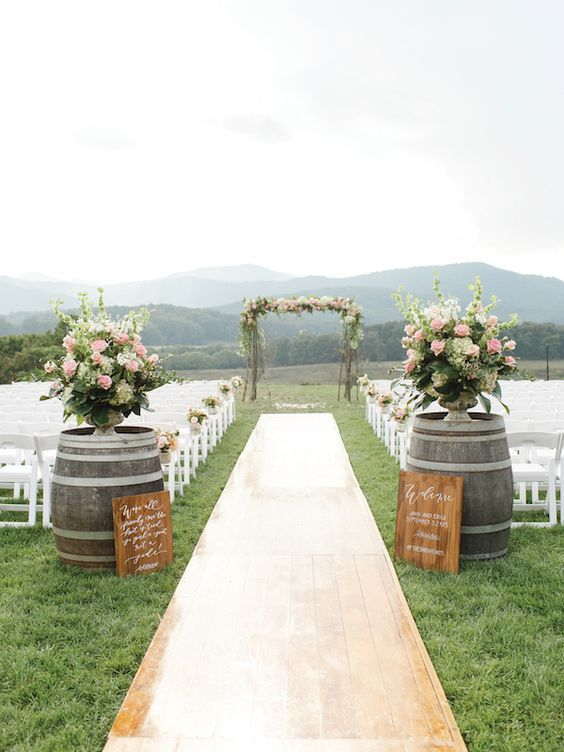 Whiskey barrels, wine barrels and cider barrels. We have many sizes of barrels to use as tables, barrel bars, barrels for the entry of your wedding isle.