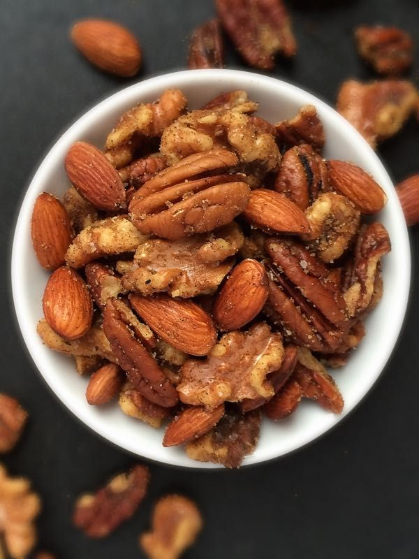Indian-Spiced Mixed Nuts - embarrassingly easy and absurdly delicious and addictive. Perfect for snacking, entertaining, or gifting (sub xylitol for the brown sugar). If Indian flavors aren't your jam, create your own spice blend.