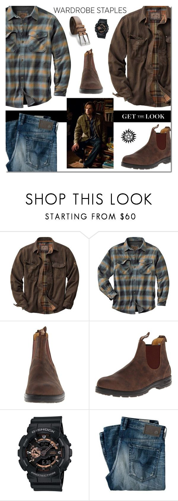 """""""PLAID: Winchester Style"""" by sjkdesign ❤ liked on Polyvore featuring Blundstone, G-Shock, James Campbell, men's fashion and menswear"""