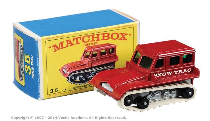 """Matchbox Regular Wheels No.35b Snow-trac. In 1969 this model was packaged in """"E"""" box."""
