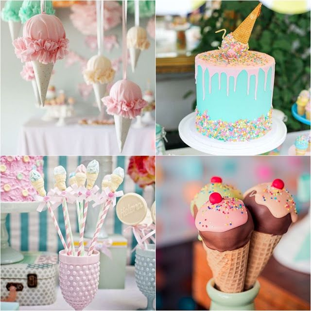 Decoração de festa com o tema sorvete.