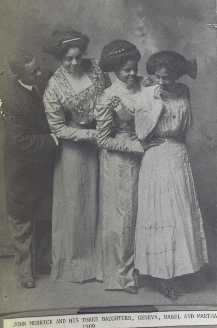 John Merrick, one of the original founders of the North Carolina Mutual Life Insurance Company, with his daughters, Geneva, Mabel, and Martha.    c.1909