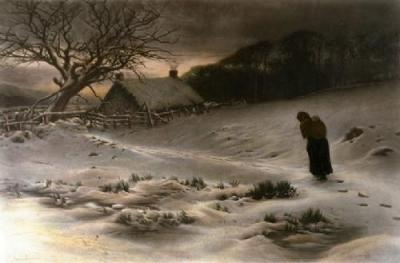 Homeward, oil on canvas by Joseph Farquharson, British, 1846-1935.