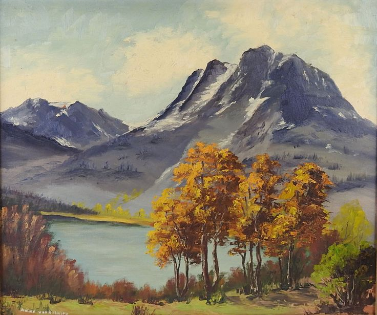 Mountain and lake oil on board. Signed illegibly lower left corner. Unframed. 9.0ʺW × 0.5ʺD × 14.0ʺH.