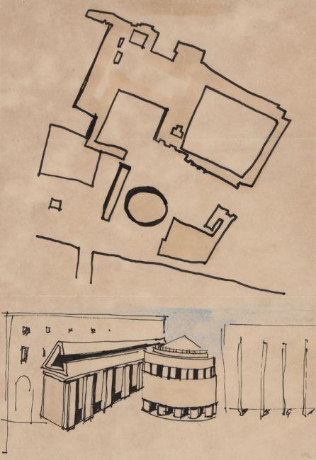 Aldo Rossi. Progetto per il nuovo teatro Paganini e sistemazione di piazza della Pilotta a Parma, 1964. Inchiostro e matite colorate su carta da lucido.