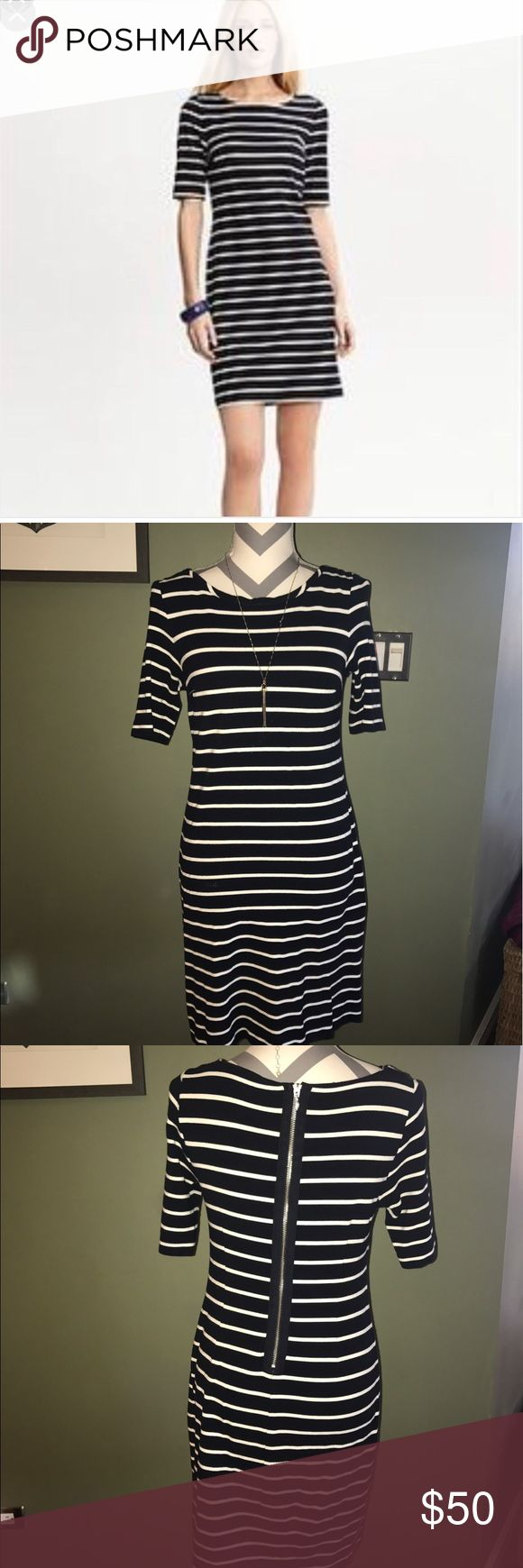 Banana Republic Navy Striped Nautical Short Dress2 Nautical navy striped dress from banana Republic. Back zip, size S.  Hit shorter above the knee.  Very cute with tan heeled sandals! Banana Republic Dresses Mini