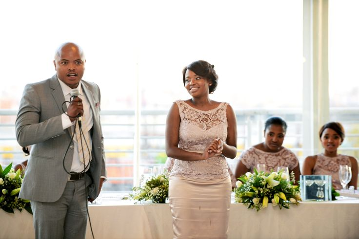 Best Man & Maid of Honour wishing the couple well
