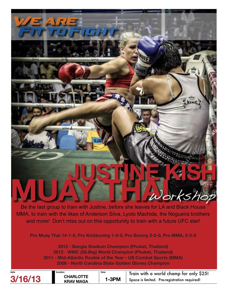 Train w/ Justine Kish! Last chance to do it before she's off to LA! #muaythai #fittofight visit http://www.charlottekravmaga.com to sign up