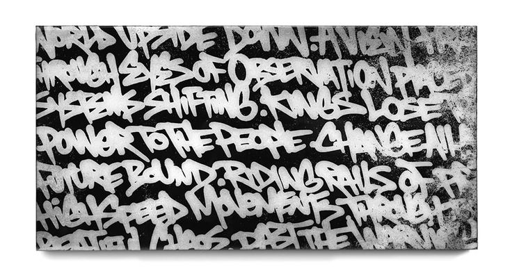 BISCO SMITH - VERSE 1 - 24 x 12 - mixed media on wood w/ resin finish - 2013