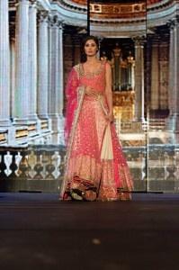manish malhotra nargis fakhri pink gold anarkali lengha
