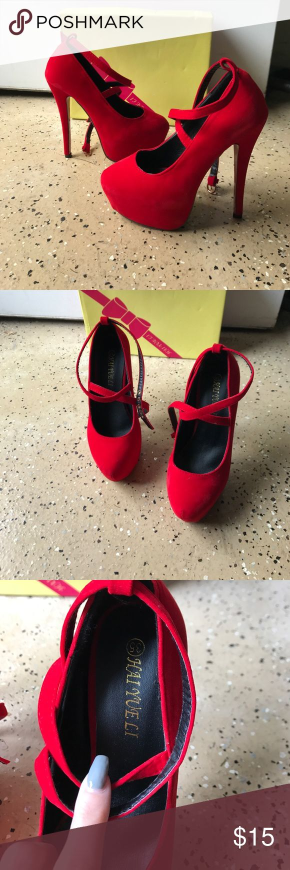 red velour heels with red bottom red velour heels with red bottom have cross cross straps and have only been worn one around the house never out | size 35 hai yu eli Shoes Heels