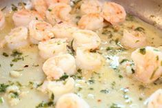 Weight Watcher Friendly – easy garlic shrimp scampi, serve over whole wheat ange…