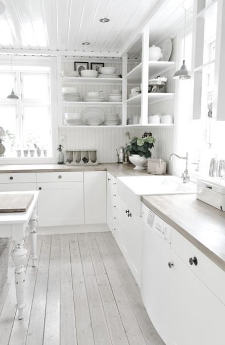 White Country Kitchen. Love The Floor And All The White.