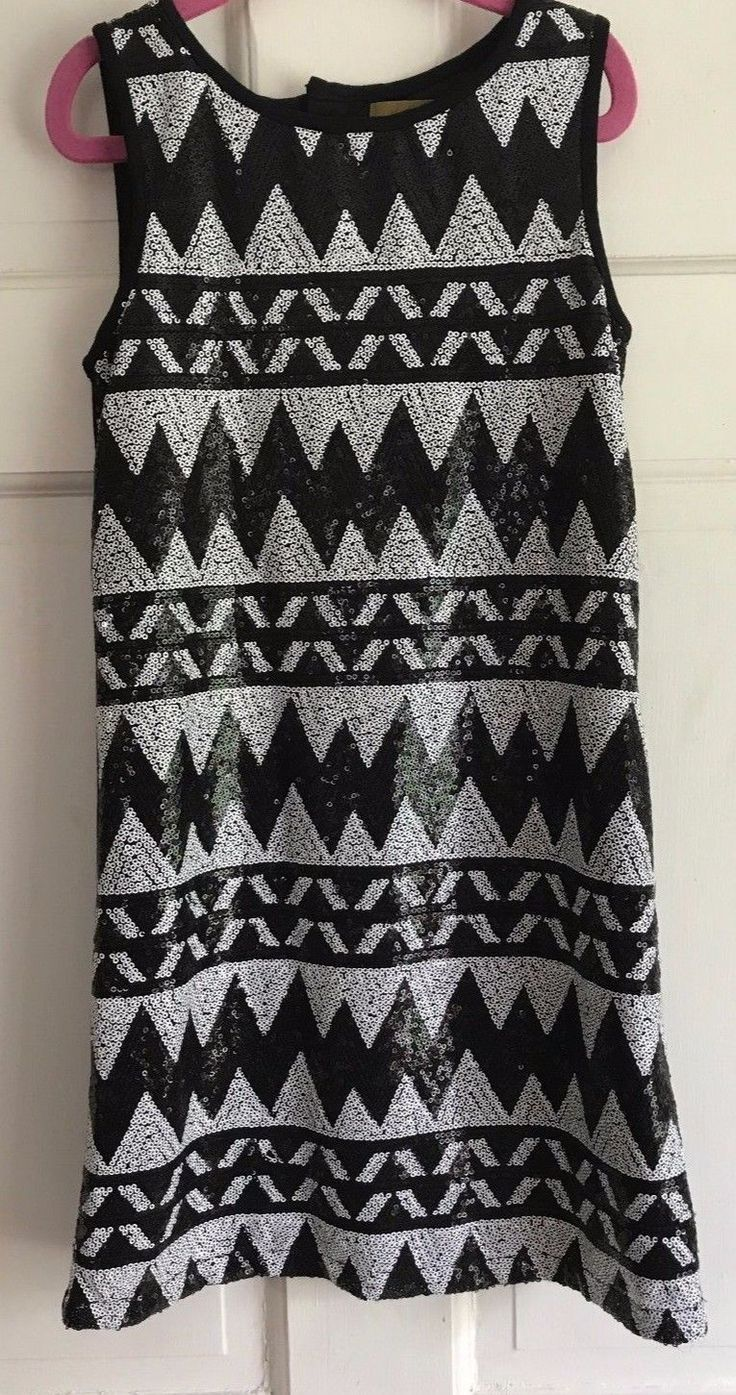 Nice Awesome NICOLE MILLER Girls Black Sequin Holiday Chasing Fireflies Dress Small 7 8 EUC! 2017-2018