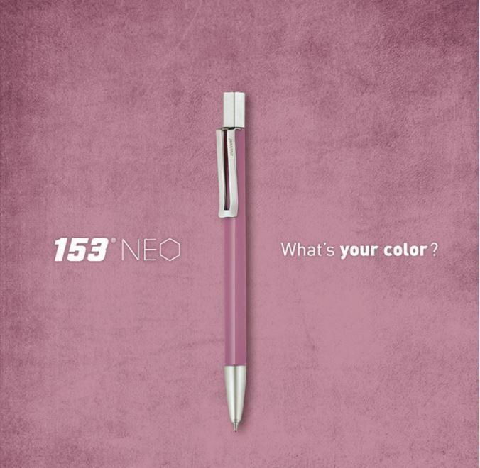 Korea Brand MONAMI 153 NEO Vintage Pink Ball Point Pen Body 0.7mm Ink-Black #Monami