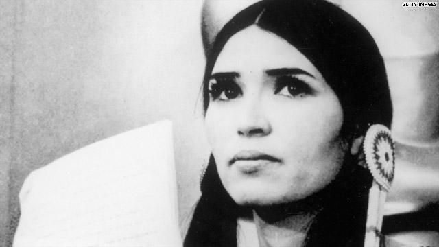 In 1973, Marlon Brando refused to accept an Oscar for his performance in The Godfather in protest of the treatment of Native Americans in the film industry and every other aspect of American culture.  Sacheen Littlefeather represented him at the ceremony, appearing in full Apache clothing.  This occured after Wounded Knee while tensions were very high.