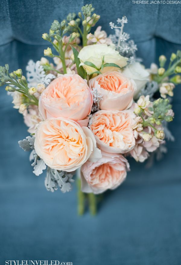 Bouquet of Peach garden roses and apricot.