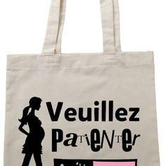 """Tote bag , sac de cours noir """"veuillez patienter"""" prénom personnalisable version garçon ou fille"""