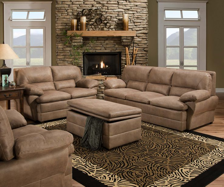 Simmons Upholstery 6125 Dunkirk Pecan Sofa And Loveseat Living Room Sets PecansLoveseatsUpholsterySofas