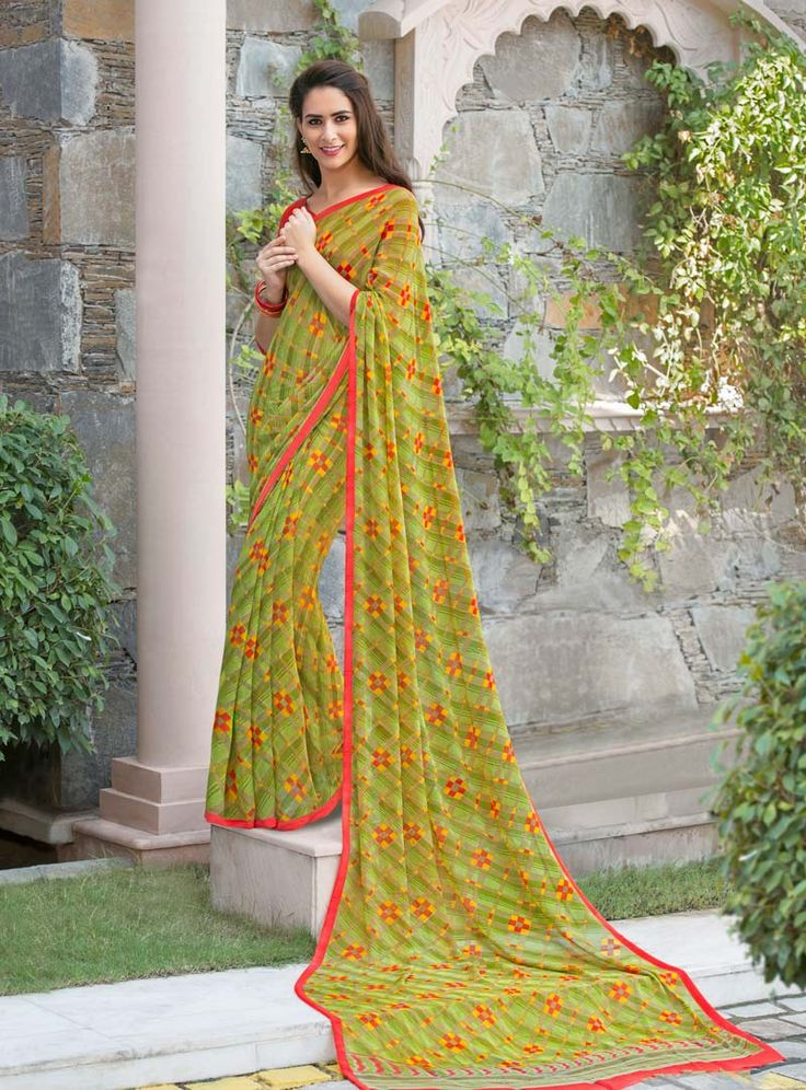Green Georgette Printed Saree With Blouse 80539