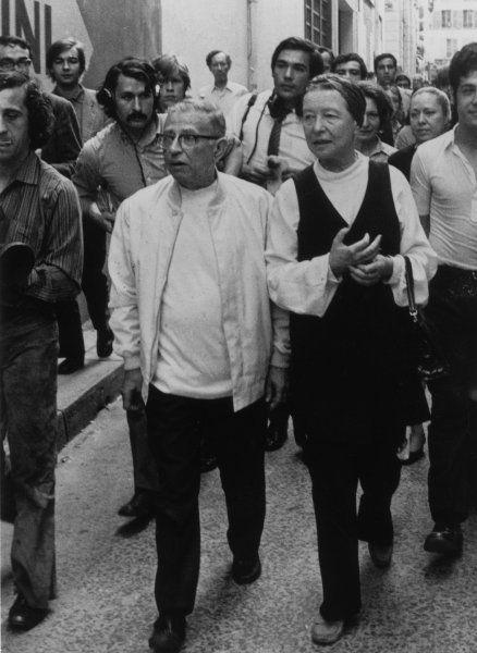 Jean-Paul Sartre and his companion, Simone de Beauvoir