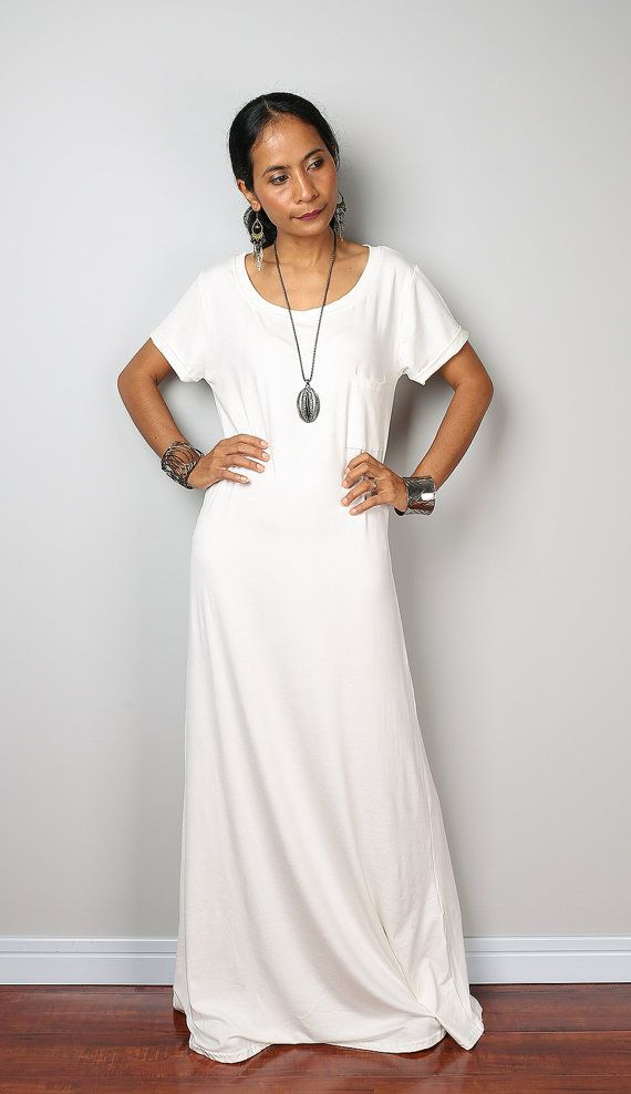 Off White Dress   Trendy off white maxi dress with cap by Nuichan