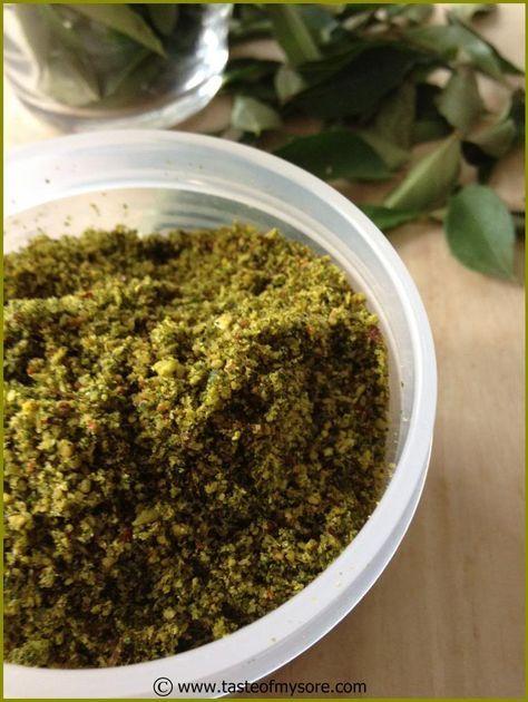 Taste of Mysore: Curry leaves chutney powder ~ Karibevu chutney pudi