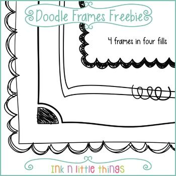 FREEBIE  This set includes 4 free doodle frames. Most frames come in four fills for a total of 14 doodle frames.