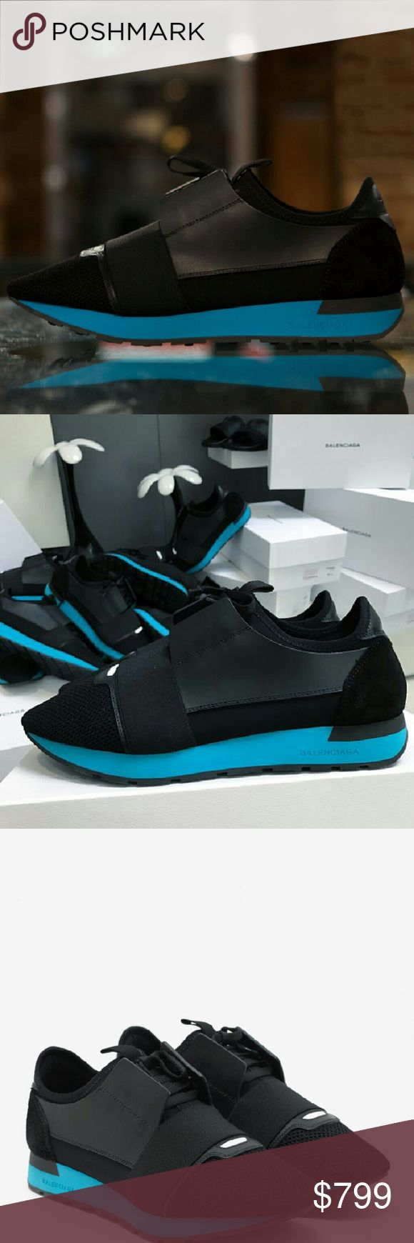 BalenciAga Men Black and Turquoise Sneakers New  Authentic I don't discuss prices online, send me an offer or text 8177790625. Balenciaga Shoes Sneakers