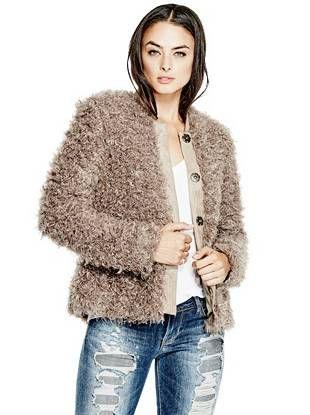 Camryn Faux-Fur Coat | shop.GUESS.com